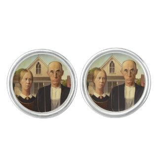 Grant Wood American Gothic Fine Art Painting Cuff Links