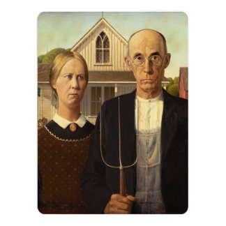 Grant Wood American Gothic Fine Art Painting Announcements