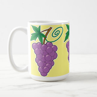 Grape Bunch on Pale Yellow Coffee Mug