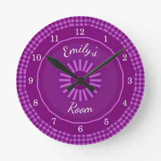 Grape Gingham Checks  Monogrammed Round Clock
