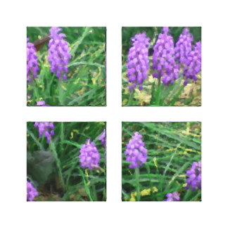 Grape Hyacinth Acrylic Four-Panel Wrapped Canvas
