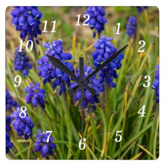 Grape Hyacinths Family Square Wall Clock