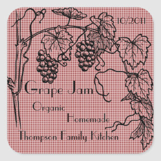 Grape Jam Jar Label (Customize) Square Sticker