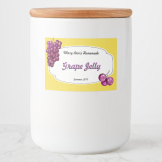 Grape Jelly Canning Food Label