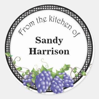 Grape Label Sticker Personalized