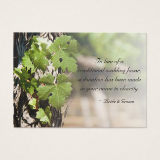 Grape Leaves Vineyard Wedding Charity Favor Card