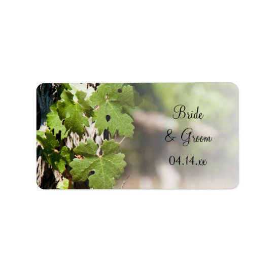Grape Leaves Vineyard Wedding Favour Tags Address Label