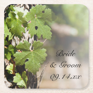 Grape Leaves Vineyard Wedding Square Paper Coaster