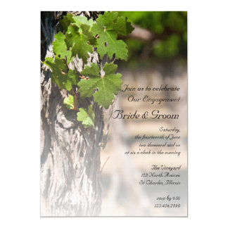 Grape Leaves Vineyard Winery Engagement Party Card