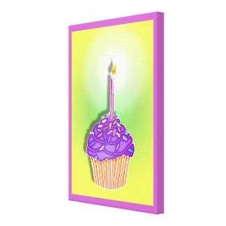 Grape & Peach BIRTHDAY CUPCAKE & CANDLE Gallery Wr Canvas Print