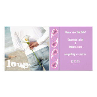 Grape & Pink Paisley Save the Date with Your Photo Photo Cards