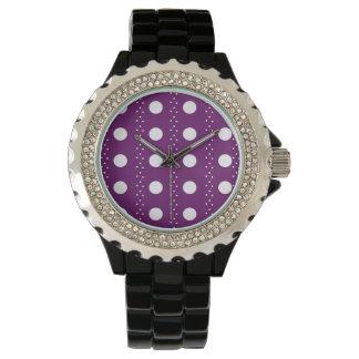 Grape Polkadot Stripes Wrist Watch