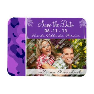 Grape Purple Camo; Summer Palm Rectangular Photo Magnet