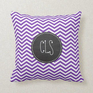 Grape Purple Chevron Stripes; Chalkboard look Cushion