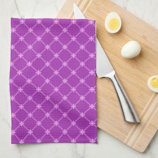 Grape, Purple Criss-Cross Pattern Hand Towels