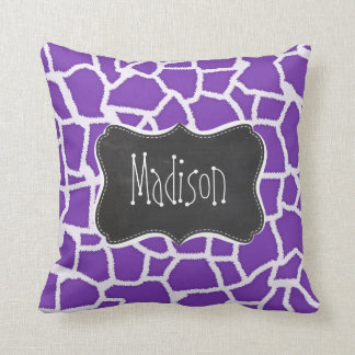 Grape Purple Giraffe Animal Print; Chalkboard look Cushion