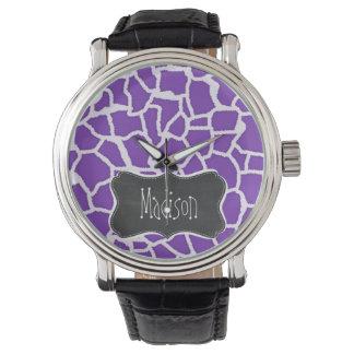 Grape Purple Giraffe Animal Print; Chalkboard look Watch