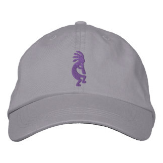 Grape Purple Kokopelli Gray Embroidered Hat