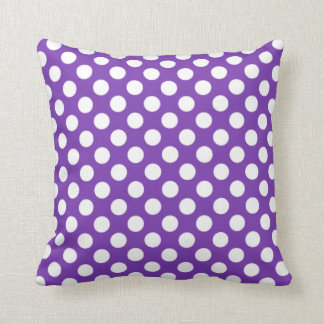 Grape Purple Polka Dots Throw Pillow