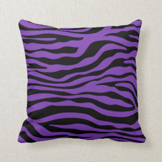 Grape Purple Zebra Stripes Animal Print Cushion