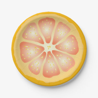 Grapefruit 7 Inch Paper Plate