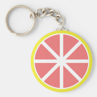 Grapefruit Slice Button Keychain