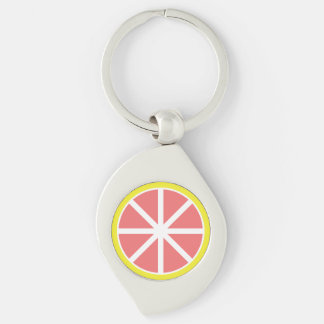 Grapefruit Slice Metal Keychain