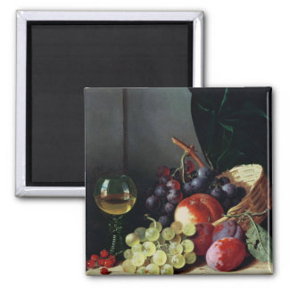 Grapes and plums square magnet