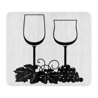 """Grapes and Wine Glasses Glass Cutting Board 6""""x7"""""""