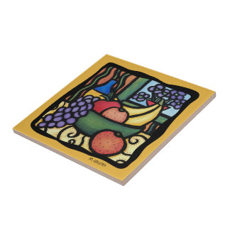 Grapes Apple Oranges Bananas Colorful Mixed Fruit Ceramic Tile
