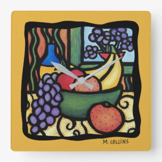 Grapes Apple Oranges Bananas Colorful Mixed Fruit Square Wall Clock