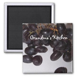 grapes, Grandma's Kitchen Square Magnet