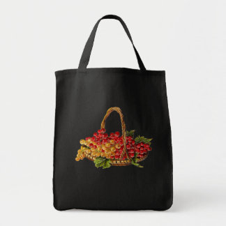 GRAPES IN BASKET GROCERY TOTE BAG