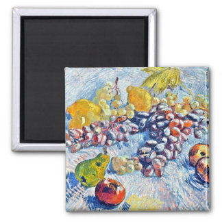 Grapes, Lemons, Pears and Apples Vincent van Gogh Square Magnet