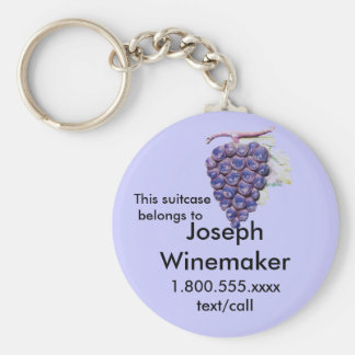 Grapes Luggage ID tag Basic Round Button Key Ring