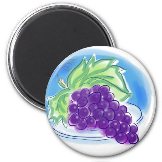 Grapes on a Plate 6 Cm Round Magnet