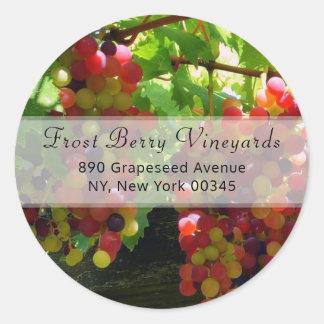 Grapes On A Vine Address Label Round Sticker