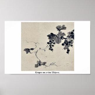 Grapes on a vine Ukiyo-e. Posters