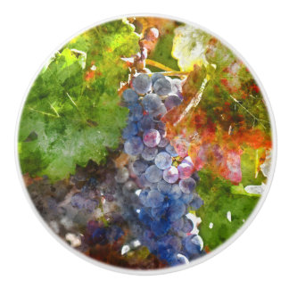Grapes on the Vine in the Autumn Season Ceramic Knob