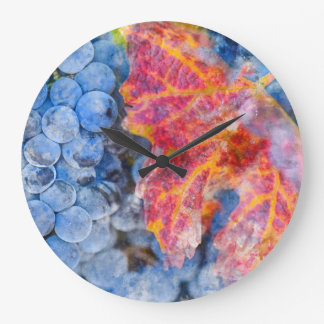 Grapes on the Vine in the Autumn Season Large Clock