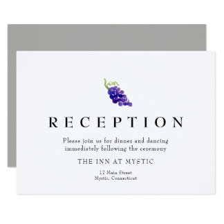 Grapes on the Vine Wine Wedding Reception Card