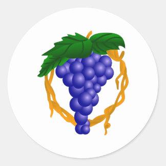 Grapes On Vine Round Sticker