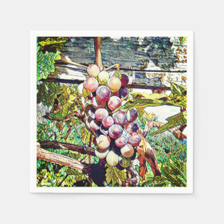Grapes. Paper Napkins