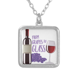 Grapes To Glass Silver Plated Necklace