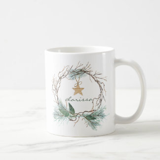 Grapevine Wreath Pine Branches Star Monogram Mug