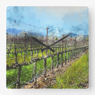 Grapevines in a Row in Napa Valley California Square Wall Clock