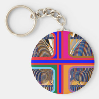 Graphic Abstract Line Art Basic Round Button Key Ring