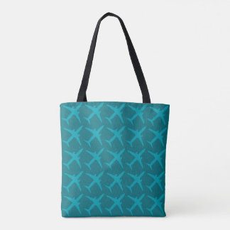 Graphic Airplane in Aqua Blue Tote Bag