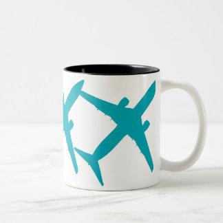Graphic Airplane in Blue Coffee Mug