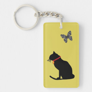 Graphic Art Cat Key chain